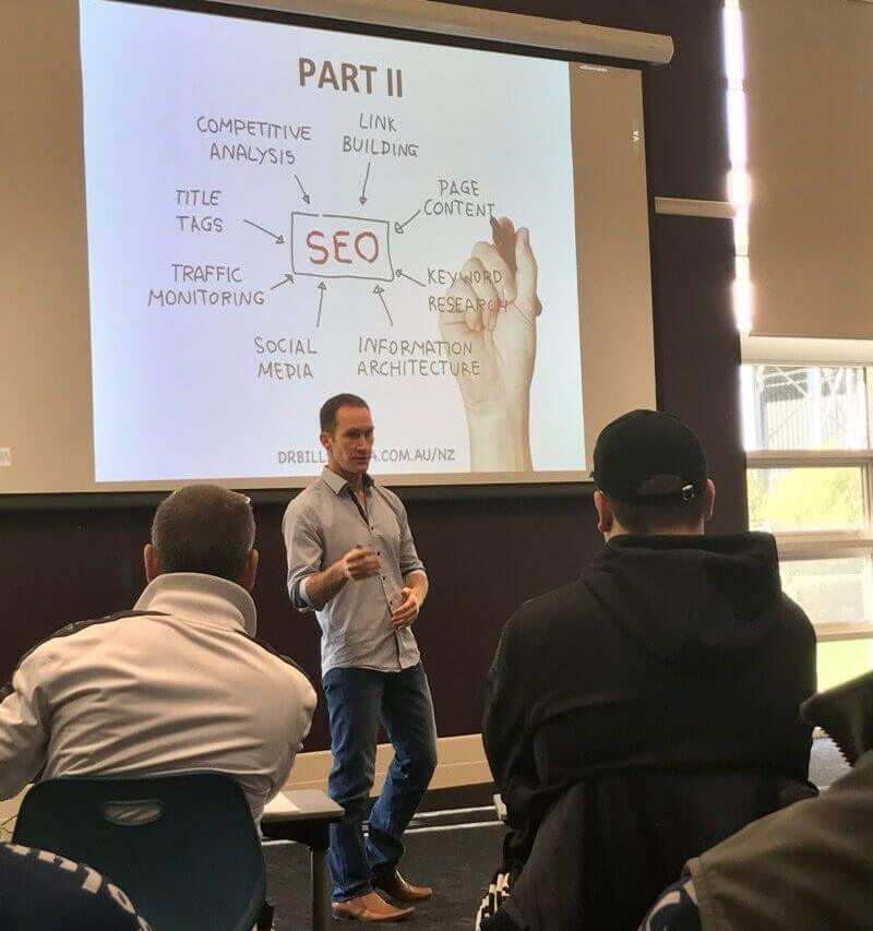 Bill Sukala lecturing on websites and seo