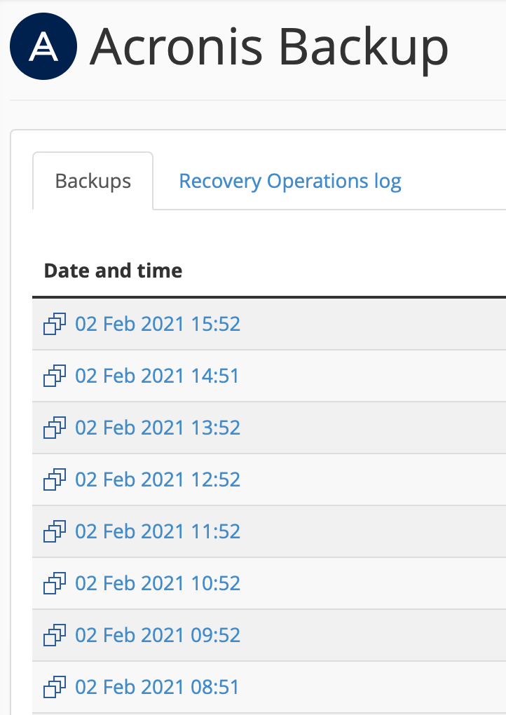 acronis website backups