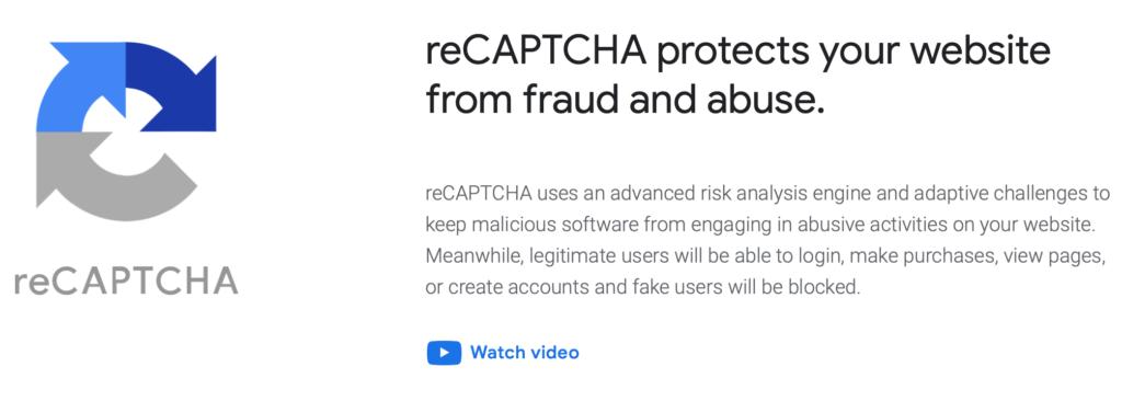 Google Captcha website security