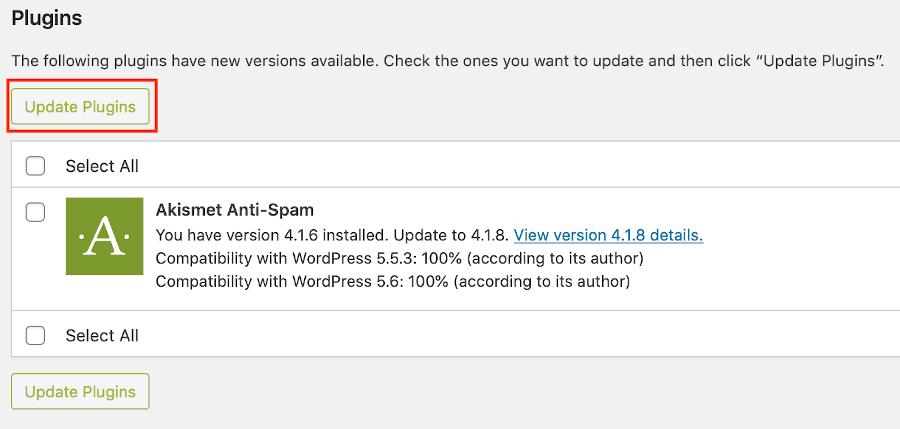 update plugins alert