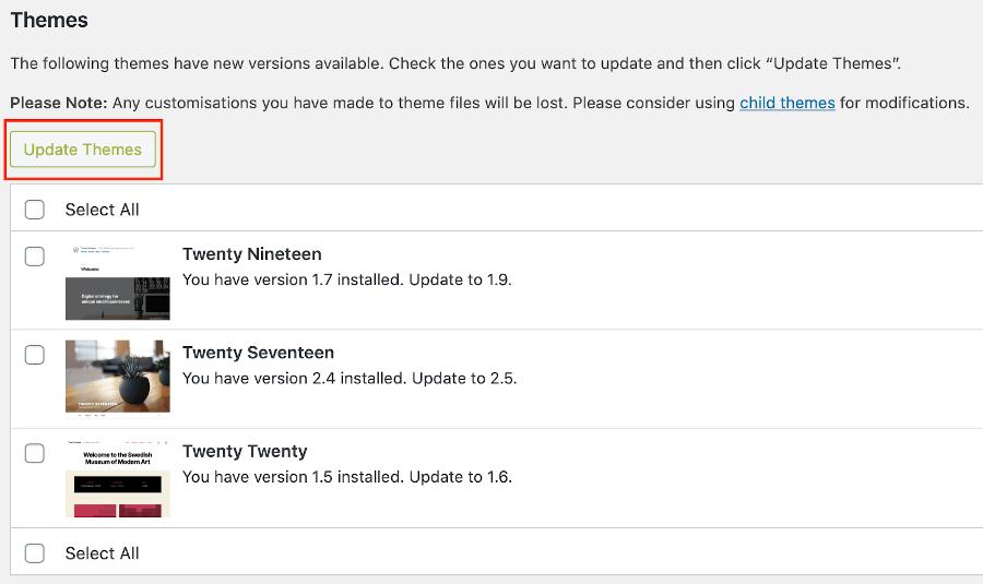 Update themes alert